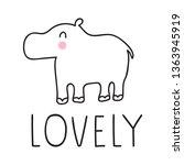 lovely hippo. hand drawn vector ... | Shutterstock .eps vector #1363945919