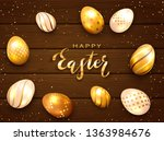 golden easter eggs and... | Shutterstock .eps vector #1363984676