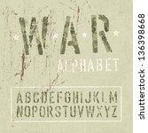 camouflage grunge alphabet.... | Shutterstock .eps vector #136398668