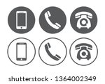 telephone icons set on white... | Shutterstock .eps vector #1364002349