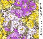 pattern of spring doodle flower ... | Shutterstock .eps vector #1364011259