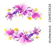 floral wreath. watercolor... | Shutterstock . vector #1364013626