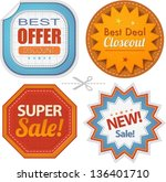 super sales retro badges... | Shutterstock .eps vector #136401710