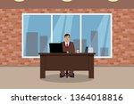 caucasian man working in his... | Shutterstock .eps vector #1364018816