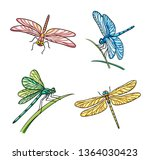 Stock vector set of different dragonflies vector illustration eps 1364030423