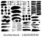 set of brush strokes  black ink ... | Shutterstock .eps vector #1364030540