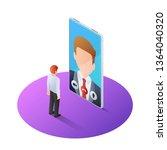 3d isometric businessman having ... | Shutterstock .eps vector #1364040320
