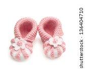 pair of handmade baby shoes ... | Shutterstock . vector #136404710