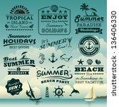 vintage summer typography... | Shutterstock .eps vector #136406330