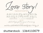 love story vector font  and... | Shutterstock .eps vector #1364110079