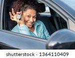 black car driver woman smiling... | Shutterstock . vector #1364110409