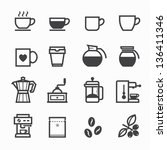 coffee icons with white... | Shutterstock .eps vector #136411346