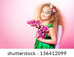 beautiful little fairy over... | Shutterstock . vector #136412099