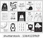 Stock vector nursery posters for baby room cute animals alphabet and quotes hand drawn vector illustration 1364123969