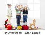 kids playing in the room | Shutterstock . vector #136413086