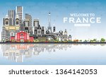 welcome to france skyline with...   Shutterstock .eps vector #1364142053