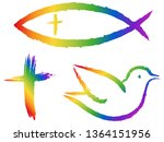 Christian Symbols In Rainbow...