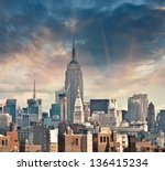 new york   sep 1   empire state ... | Shutterstock . vector #136415234