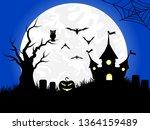 halloween background with... | Shutterstock . vector #1364159489