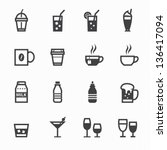 drink icons with white... | Shutterstock .eps vector #136417094