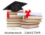 grad hat with diploma and books ... | Shutterstock . vector #136417349