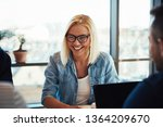 young blonde woman laughing... | Shutterstock . vector #1364209670