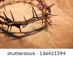 crown of thorns over brown... | Shutterstock . vector #136421594