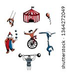 hand drawn vector set of circus ... | Shutterstock .eps vector #1364272049