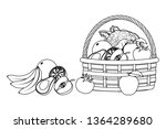 wicker basket with fruit and... | Shutterstock .eps vector #1364289680