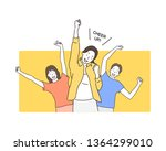 portrait of cheerful people in... | Shutterstock .eps vector #1364299010
