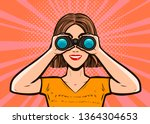 girl looking through binoculars.... | Shutterstock .eps vector #1364304653