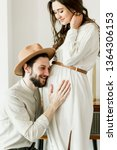 young beautiful pregnant woman...   Shutterstock . vector #1364306153