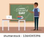 man teacher with blackboard to... | Shutterstock .eps vector #1364345396