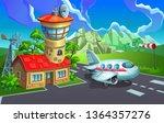airport. the passenger aircraft ... | Shutterstock .eps vector #1364357276