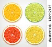 vector citrus slices | Shutterstock .eps vector #136440689
