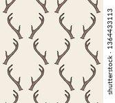 seamless pattern with deer... | Shutterstock . vector #1364433113