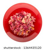 Stock photo  herring under a fur coat on a plate isolated on white background herring beetroot carrot 1364435120