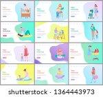happy motherhood vector  woman... | Shutterstock .eps vector #1364443973