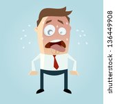 funny cartoon man is sweating | Shutterstock .eps vector #136449908