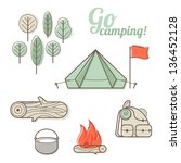 Vector abstract illustration of camping with hiking elements (camp fire, tent, flag, backpack, tree, bowler)