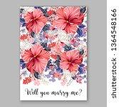 rose wedding invitation peony... | Shutterstock .eps vector #1364548166
