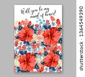 rose wedding invitation peony... | Shutterstock .eps vector #1364549390