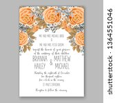 wedding invitation peony rose... | Shutterstock .eps vector #1364551046