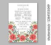 wedding invitation peony rose... | Shutterstock .eps vector #1364551049