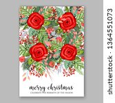 wedding invitation peony rose... | Shutterstock .eps vector #1364551073