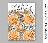 wedding invitation peony rose... | Shutterstock .eps vector #1364551079