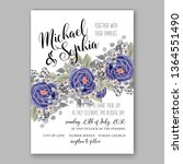 wedding invitation floral peony ... | Shutterstock .eps vector #1364551490