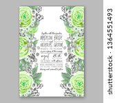 wedding invitation floral peony ... | Shutterstock .eps vector #1364551493