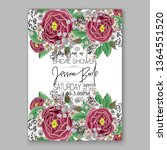 wedding invitation floral peony ... | Shutterstock .eps vector #1364551520