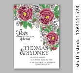 wedding invitation floral peony ... | Shutterstock .eps vector #1364551523